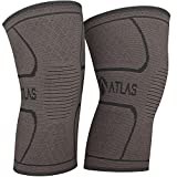 Atlas Sport Knee Support Sleeves - Ideal Compression for Running, Weight Lifting and Everyday Use - For Men and Women (1 Pair) (Black, M)