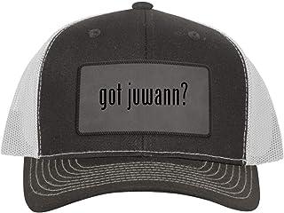 One Legging it Around got juwann? - Leather Grey Patch Engraved Trucker Hat