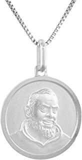 Sterling Silver St Padre Pio Medal Necklace 3/4 inch Italy 0.8mm Chain