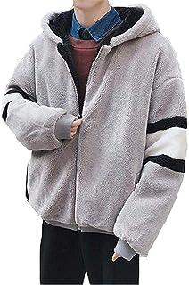 [アクルド] フリースジャケット ボアジャケットメンズ モッズコート アウター 裏起毛 モコモコ 厚手 スプライス フード付き 暖かい 冬 ゆったり 柔らかい ファッション カジュアル