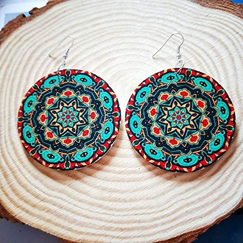 Damen Ohrringe,6 Cm Holz Rund Um Afrika Bunte Geheimnisvolle Grüne Blume Diy Tribal Ohrring Holz- Vintage Ethnischen Zubehör Ohr Afrikanischen Boho Schmuck Für Damen Mode Personalisierte Ohrschmuck