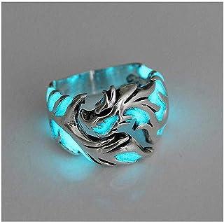 خاتم للنساء والرجال من قطعة واحدة للنساء والرجال لا يسبب الحساسية يتوهج في الظلام مضيء دراجون خاتم هدايا الحفلات
