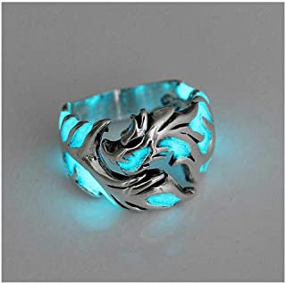 Womens Mens Ring 1Pc Women and Men Allergy Free Glow in The Dark Luminous Dragon Ring Party Gifts