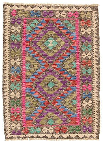 CarpetFine: Tapis Kilim Afghan - 86x118 cm Multicouleur - Géométrique