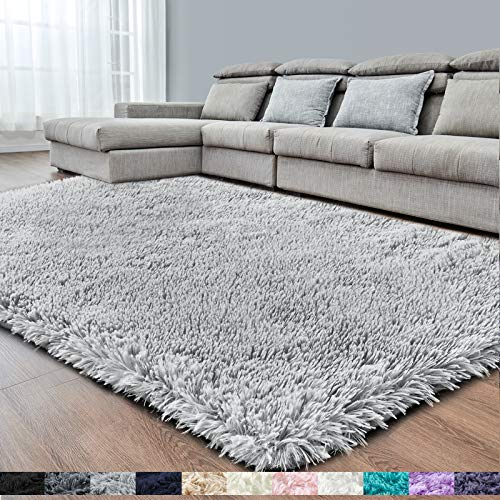Light Grey Super Soft Area Rug for Bedroom,6x9.6,Fluffy Rugs,Big Rug,Furry Rugs for Living Room,Plush Rugs for Girls Boys Room,Shaggy Rug for Kids Baby Room,Fuzzy Rugs for Nursery Dorm,Non-Slip Rug