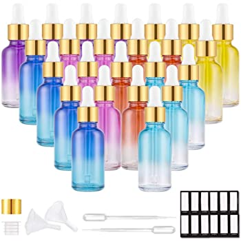 PrettyCare Eye Dropper Bottles 1oz (Rainbow Colored Glass Bottle 24 Pack 30ml with Golden Caps, 48 Labels, Funnel & Measured Pipettes) Empty Tincture Bottles for Essential Oils, Perfume