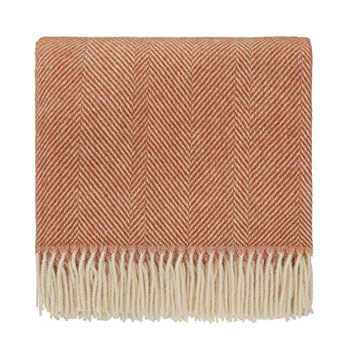 URBANARA 140x220 cm Wolldecke 'Salantai' Terrakotta/Creme — 100{ec37bbf454964da70026edfd1de8dfed60dc4e9cc337e0fce9ff8eec882604bf} Reine skandinavische Wolle — Ideal als Überwurf, Plaid oder Kuscheldecke für Sofa und Bett — Warme Decke aus Schurwolle mit Fransen