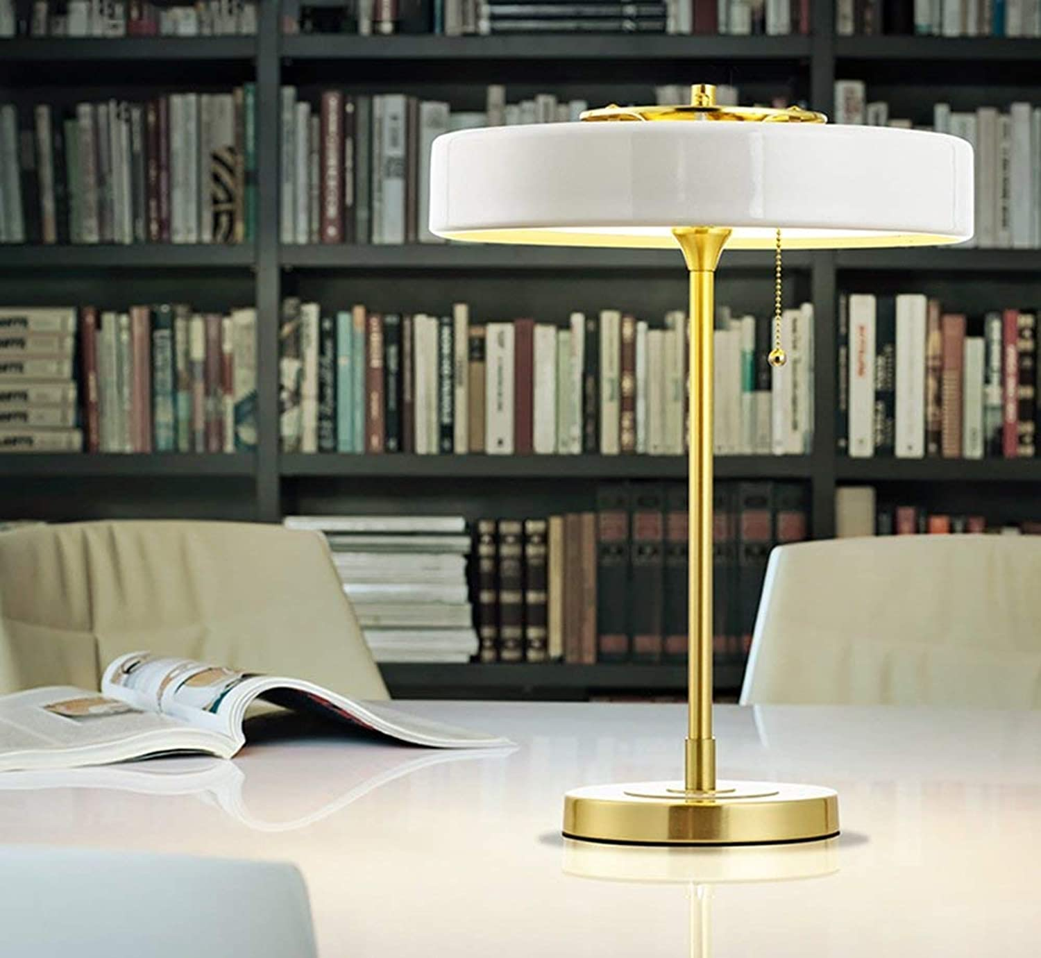 Modern Simple Table Lamp, Nordic Iron Sample Room Home European Style Living Room Bedroom Bedside 220V Pull Line Switch E14  3 Energy Saving and Environmental Predection Modern, ChuanHan