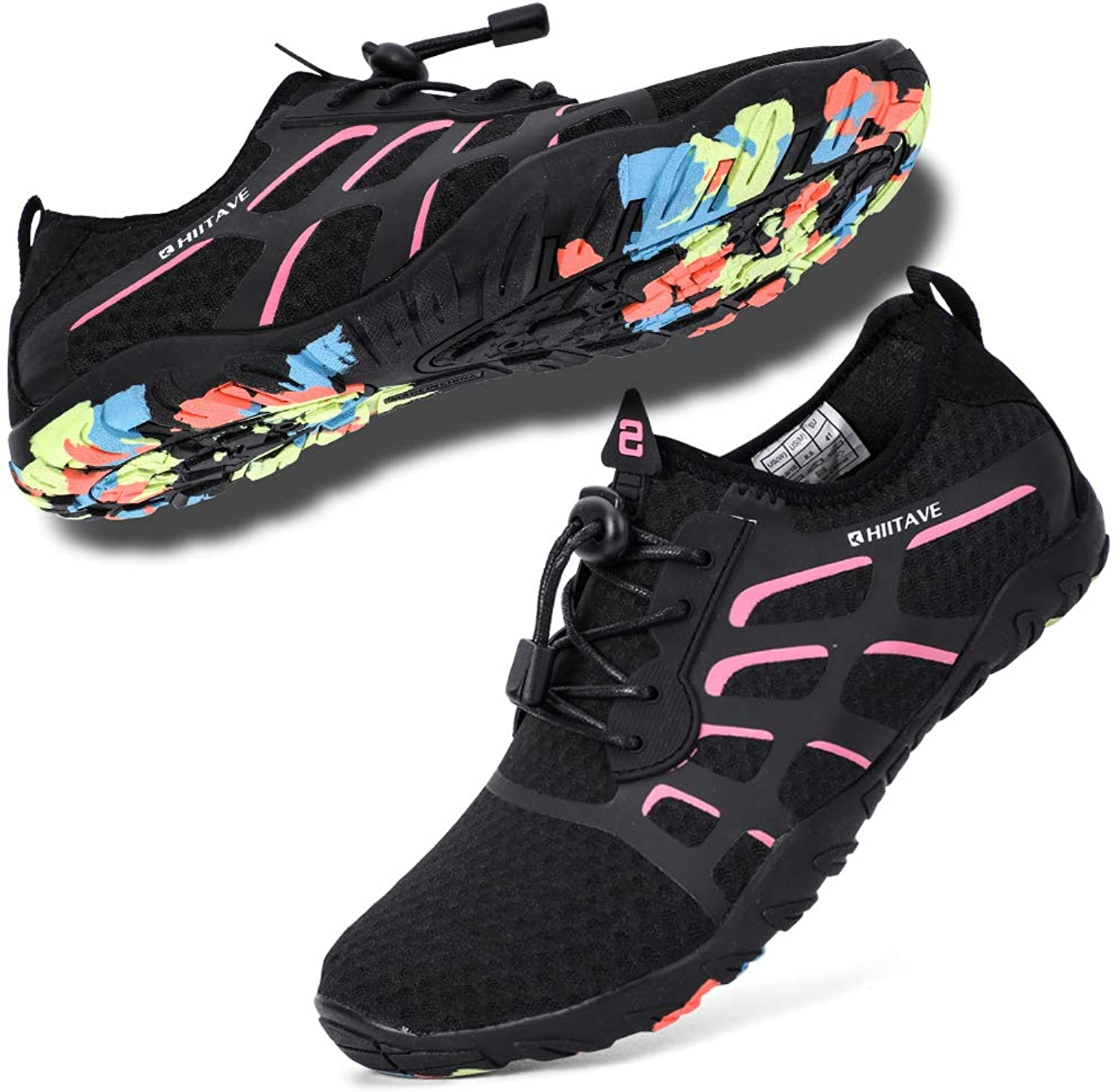 Hiitave Water shoes for Women, Ladies Aqua Beach Swimming shoes for Diving, Surf, Pool, Kayaking Black Fushia W7.5 M6.5