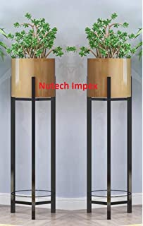 Modern Plant Stands Indoor Outdoor Decoration Potted with Pot Flower Stand Indoor Home Balcony Decoration Storage Shelf Living Room with Pot (Set of 2) (Gold)