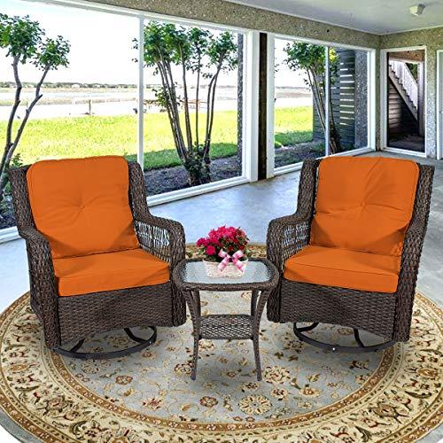 3 Piece Patio Furniture, Outdoor Swivel Rocker Patio Chairs,Wicker Rattan Bistro Furniture Set,Outdoor Swivel Rocking Conversation Set Furniture,with Glass Coffee Table and Cushions Orange