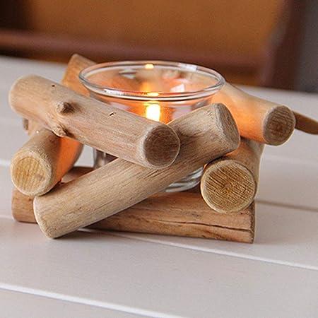 Portavelas de madera hecho a mano, con portavelas de madera rústica, portavelas de té con cristal transparente para manualidades, adorno para el ...