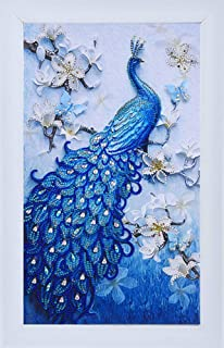 Diamond Painting DIY 5D Special Shape Rhinestones, ABEUTY a Beautiful Peacock in The Flowers, Partial Drill Crystal Diamond Art Kits