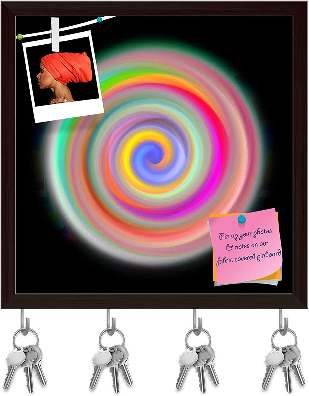 Artzfolio Abstract Mandala Key Holder Hooks   Notice Pin Board   Dark Brown Frame 16 X 16.1Inch