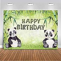 写真バナー装飾 黒白い動物 折りたたみ式背景小道具 パンダのテーマお誕生日おめでとう緑竹 ブースの小道具の背景 現代の バックグラウンドシュートビニール