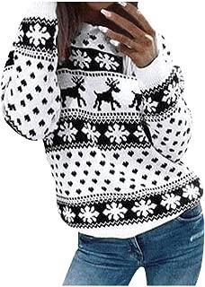 Women Christmas Sweater,Pullover Snowflake Dots Print Long Sleeve O-Neck Christmas Tree Knitting Sweatshirt Tops