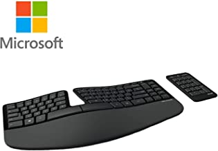 Microsoft Sculpt Wireless Ergonomic Keyboard 5KV for Computers Laptops Cushioned Wrist Wrest Bundle (1-Pack)