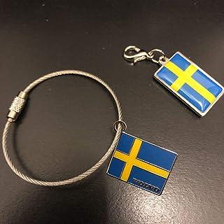 ボルボ VOLVO スウェーデン国旗 チャーム&キーリング キーホルダー 純正 ノベルティ