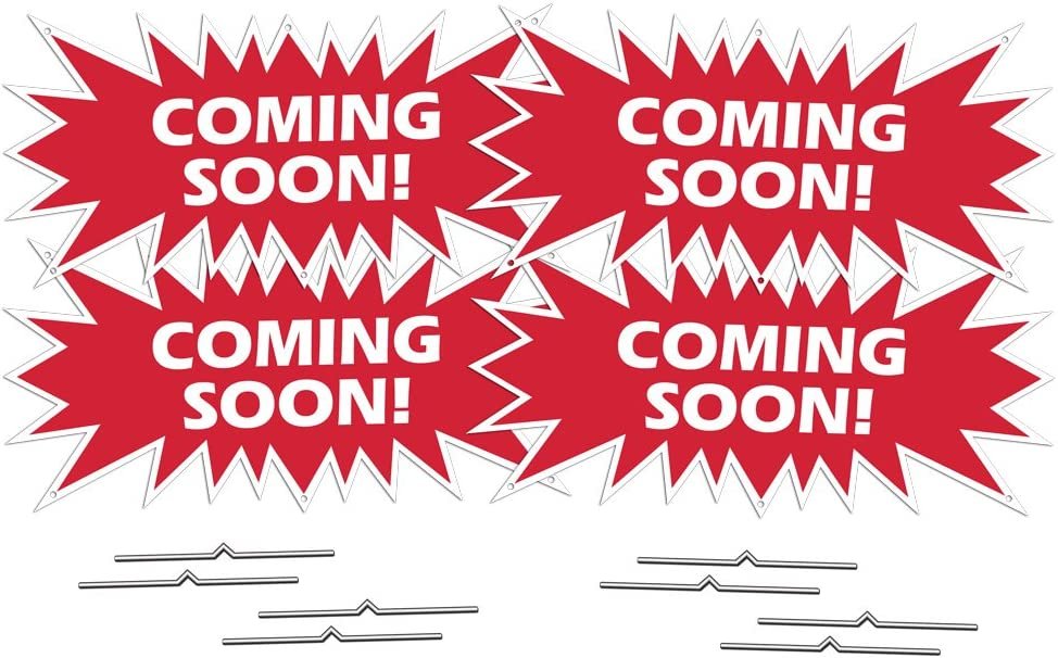 Columbus Mall Coming Soon Starburst Sign Rider - Pack Estate 4 Red Special Campaign Real Corr