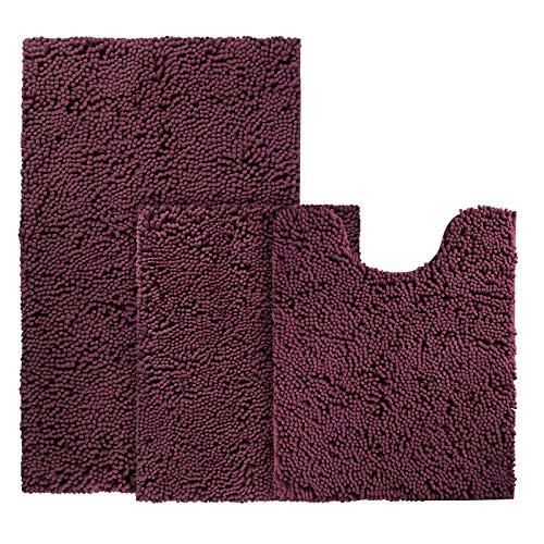 BYSURE Deep Burgundy Red Bathroom Rug Set 3 Piece Non Slip Extra Absorbent Shaggy Chenille Bathroom Rugs and Mats Sets, Soft & Dry Bath Rug/Mat Sets for Bathroom Washable Carpets Set