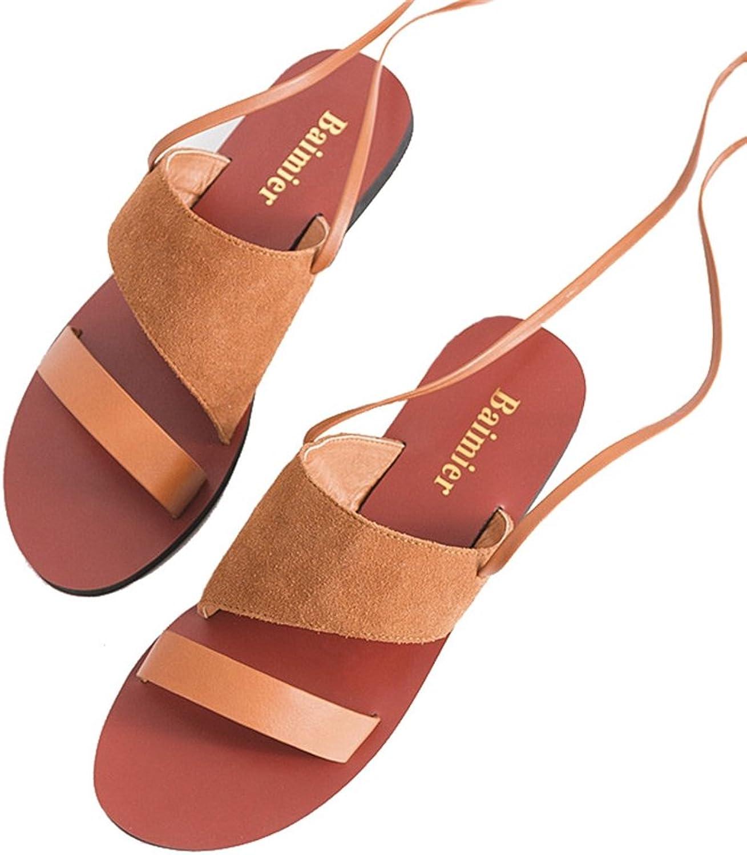 Btrada Women Beach Flat Sandals Lace Up Calf Strap Roman Sandals