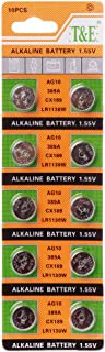 MANGKE - 10PCS Metal Alkaline Button Coin Cell Battery AG10 1.5V - for Small Electronic Devices Watch Batteries SR54 389 189 LR1130 SR1130 Toys Control Remote