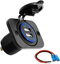 MingBright Quick USB Car Charger, Waterproof Socket Adapter Fast Charge with LED Indicator & Wire Kit, Dual USB Socket for 12/24V RV, Camper, Motorhome, Marine, Boat, Truck, Golf Cart and More