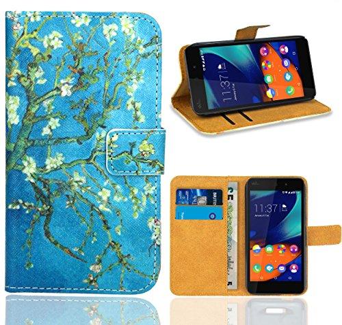 FoneExpert® Wiko Rainbow Up Handy Tasche, Wallet Hülle Flip Cover Hüllen Etui Ledertasche Lederhülle Premium Schutzhülle für Wiko Rainbow Up