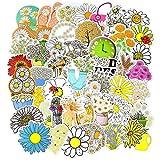 QINGMI Flores Margaritas Pegatinas para niños niñas Vsco Elemento de Moda Daisy Kawaii Pegatinas de Dibujos Animados Set DIY Maleta Bicicleta Guitarra 50 Piezas
