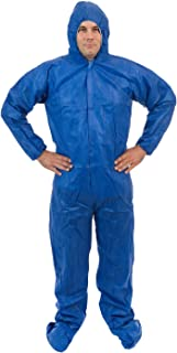 International Enviorugard – Standard SMS 3 Layer General Protective Coverall for General Cleanup (Blue) Elastic Wrist, Hood & Boots, XL (25 per case)