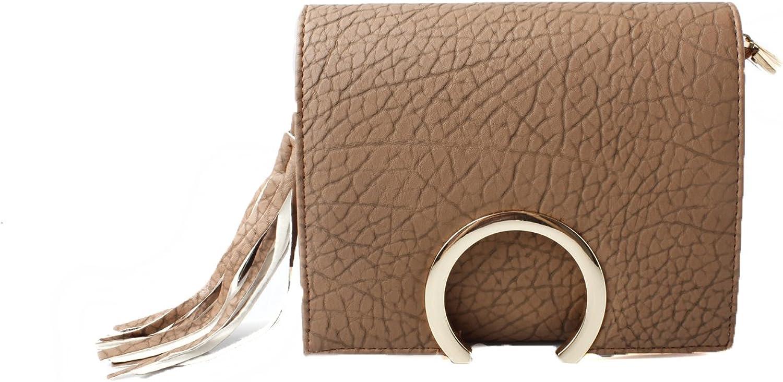 Womens Tan Crackled Effect Box Hand Bag with Tassel Fringe