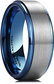 King Will Duo 8mm 10mm Black Brushed Blue Tungsten Carbide Wedding Band Ring Polish Finished Comfort Fit