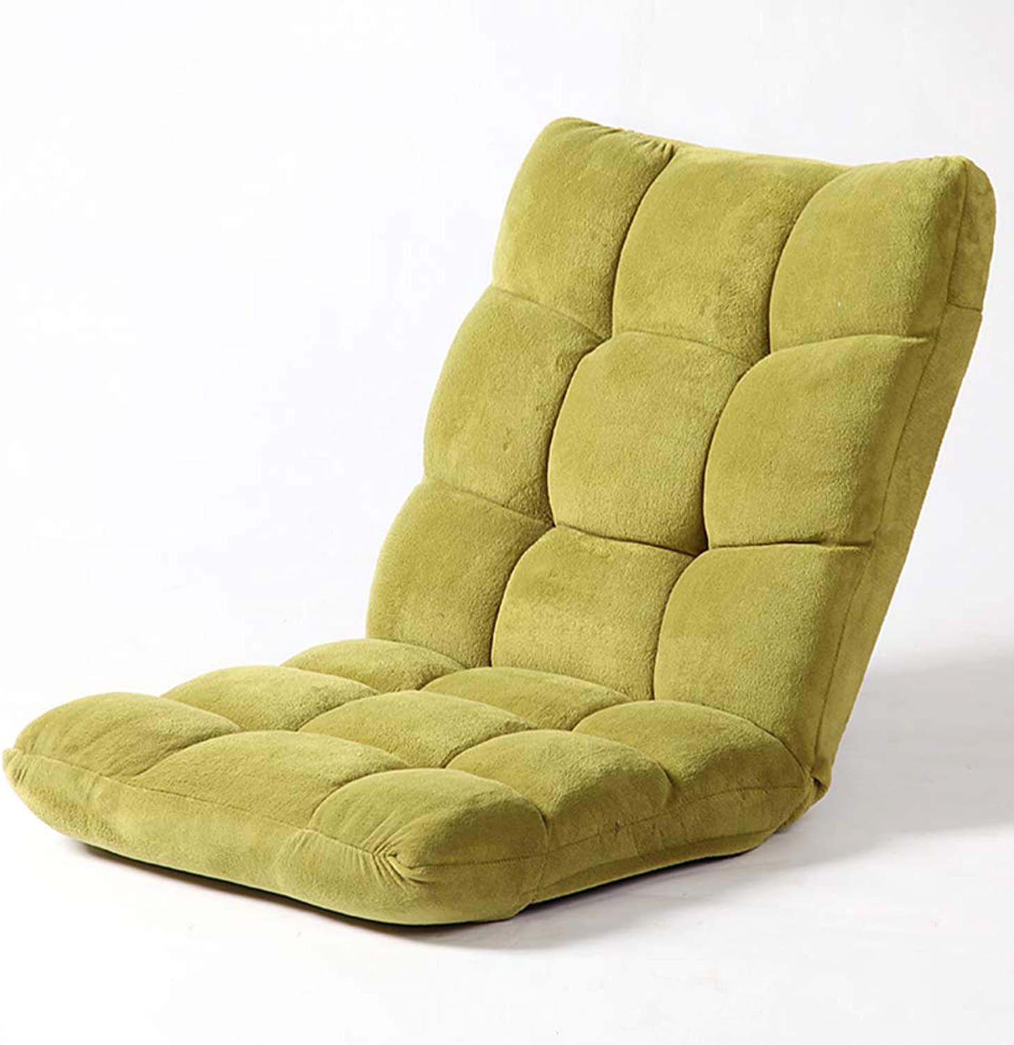 Padded Floor Chair,Cotton Adjustable 5-Position multiangle Cushioned Recliner Video-Gaming Reading Legless Floor Chair -Green 44x55cm(17x22inch)