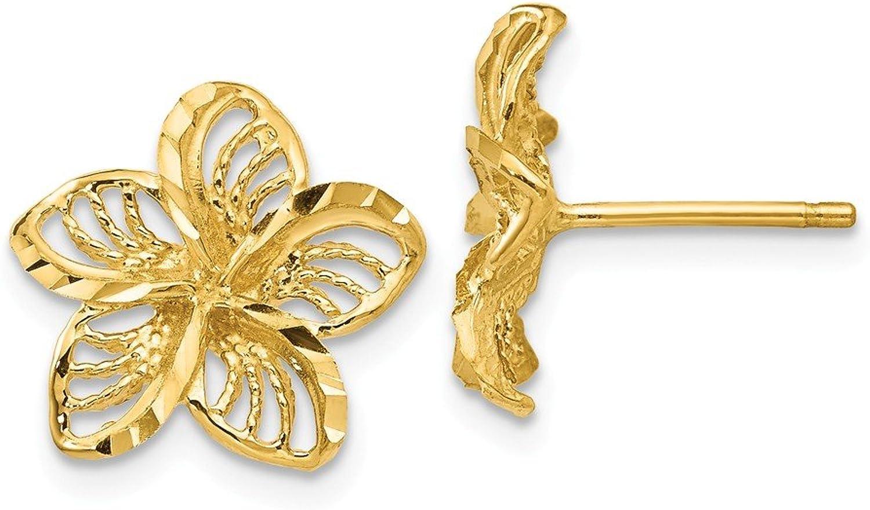 Beautiful Yellow gold 14K Yellowgold 14K Diamondcut Filigree Plumeria Earrings