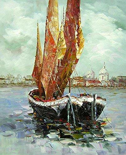 e-tableaux–Tabella Barca Vela, Dimensione 60/90cm, orientamento verticale, Pittura ad Olio su tela di cotone montata su telaio in legno. Nessun lavoro di stampa. Tabella firmato.