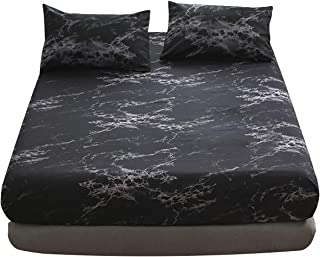 WUJIE Marble Pattern 3 PCS Soft Bedding Set Microfiber Twin Fitted Sheet Pillowcases Stain Resistant Deep Pocket Elastic Bed Sheet Home Textile, Black