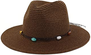 Handmade Knitted Patchwork Straw Hat for Women Summer Hats Elegant Ladies Wide Brim Floppy Foldable Beach Sun Hat Caps` TuanTuan (Color : Coffee, Size : 56-58CM)