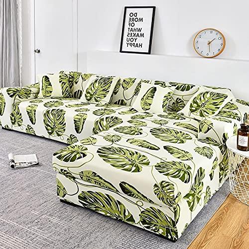 WXQY Fundas Estampadas elásticas Antideslizantes para sofá Funda de sofá para Mascotas Esquina en Forma de L Funda de sofá Antideslizante A19 2 plazas
