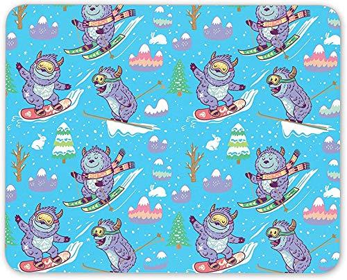 Mauspad, lustiges lila Monster-Ski-Schneemaus-Mattenpad - Snowboard-Geschenkcomputer
