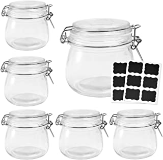 Betrome 16 OZ Glass Preserving Jars with Airtight Rubber Gasket Hinged Lid Reusable Kitchen Storage Jar for Jam, Jelly, Ho...