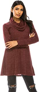 A.F.Y. Women's Long Sleeve Cowl Neck Form Fitting Tunic Dress