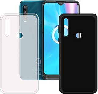FZZ Slim Thin Black and Translucent Case for Alcatel 1SE Light, Soft Protective Phone Cover With Flexible TPU Protection B...