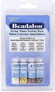 Beadalon Crimp Tube Variety Pack #2 Nickel Free Silver, Gold Copper Gunmetal, 600-Piece