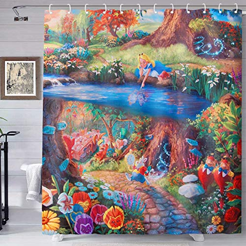 TERSUM Wonderland Shower Curtain Alice White Rabbit Mr Psychedelic Fairyland Fairy Tale Style Print Shower Curtain Machine Washable Fabric Home Bathroom Privacy Decor Set with Hooks 70x72inch YLHXTE67
