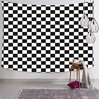 Peyqigo Wall Hanging Tapestry 60x80 Inch Polyester Chequered Checkered Flag Racing White Race Car Line Auto Black Check Competition Bedroom Living Room Dorm Decoration Picnic Mat Beach Towel