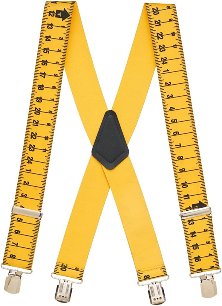 Bargain SuspenderStore Men's TAPE MEASURE 2-Inch Pin Clip Suspender Wide gift