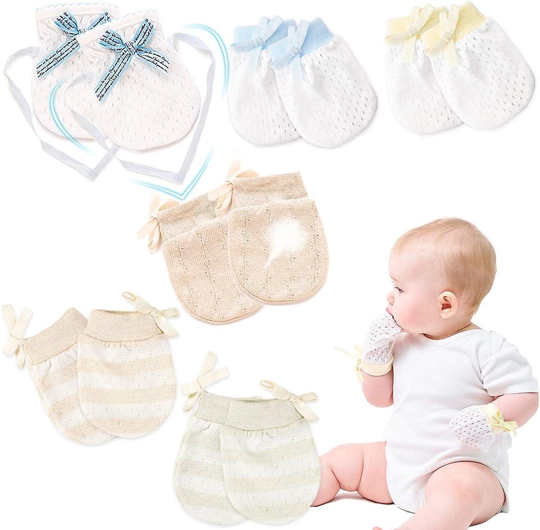 Kalevel No Scratch Mittens Newborn Baby Gloves Cotton 0-12 Months (6 Pairs)