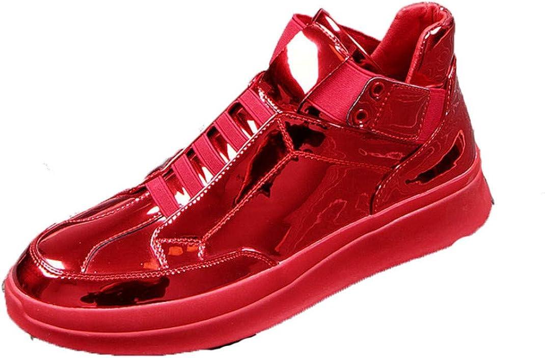 Hombres Zapatillas de Deporte Primavera Otoño Impermeable Charol Color sólido Botines Casuales de Fondo Grueso Moda High Top Hombres Zapatos para Correr