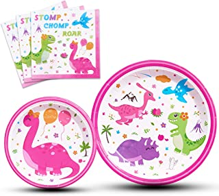 WERNNSAI Disposable Dinosaur Plates and Napkins - Dino Party Supplies for Girls Luncheon Dinner Dessert Cake Plates Baby Shower Birthday Party Tableware Kit 48PCS Serves 16 Guests