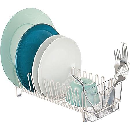 mDesign étendoir à vaisselle en métal et plastique – égouttoir à vaisselle pour le plan de travail ou pour l'évier – avec range-couverts en trois pièces en plastique – beige et transparent